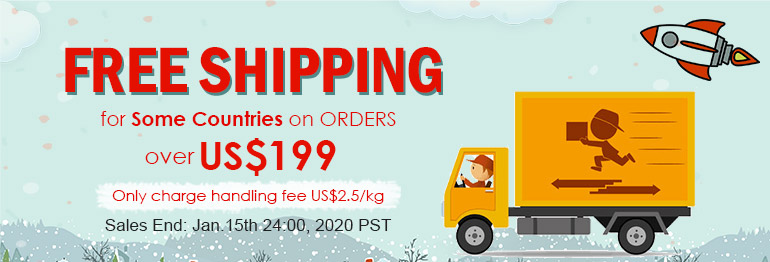Free Shipping for Most Countries on Orders over US$199